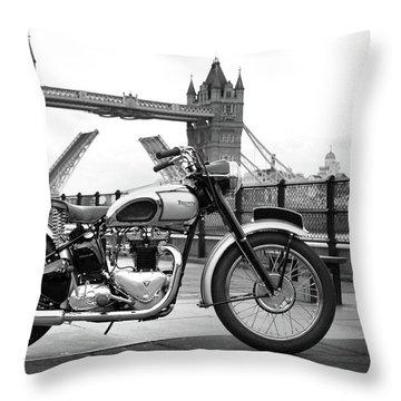 1949 Triumph T100 Throw Pillow by Mark Rogan