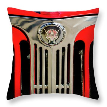 1949 Willys Jeepster Hood Ornament And Grille Throw Pillow by Jill Reger