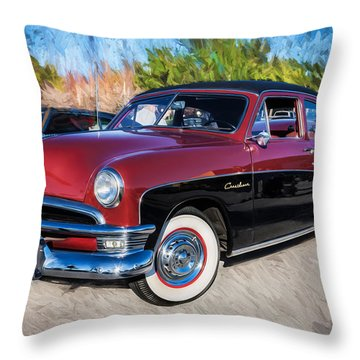 1950 Ford 2 Door Crestliner Painted    Throw Pillow