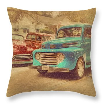 1950 Ford Truck Classic Cars - Homecoming Throw Pillow by Rebecca Korpita