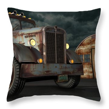 Throw Pillow featuring the digital art 1950 Kenworth by Stuart Swartz