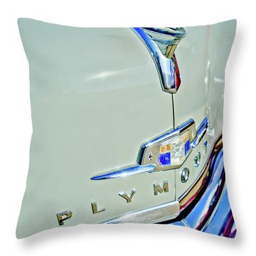 1950 Plymouth Coupe Hood Ornament Throw Pillow by Jill Reger
