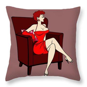 1950s Cartoon Pinup Girl Throw Pillow