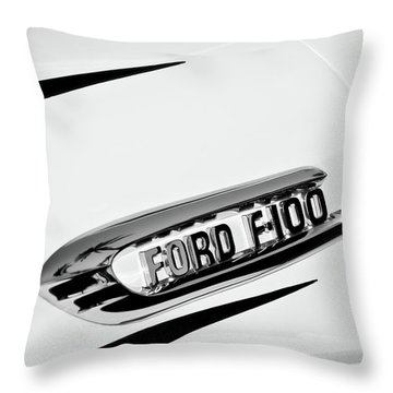 1950's Ford F-100 Fordomatic Pickup Truck Emblem -0129bw Throw Pillow