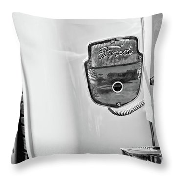 1950's Ford F-100 Pickup Truck Taillight Emblem -0143bw Throw Pillow