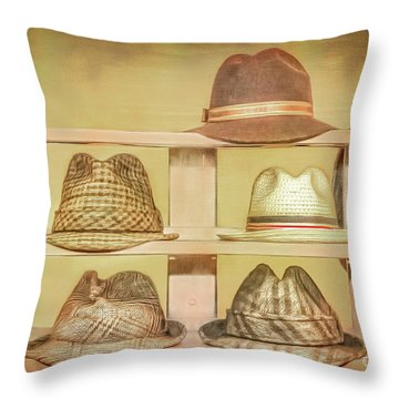 1950s Hats Throw Pillow by Marion Johnson