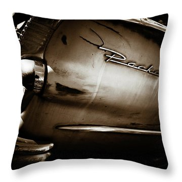 Throw Pillow featuring the photograph 1950s Packard Tail by Marilyn Hunt