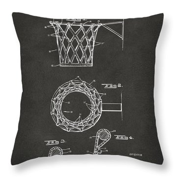 Throw Pillow featuring the digital art 1951 Basketball Net Patent Artwork - Gray by Nikki Marie Smith