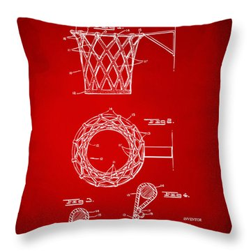 Throw Pillow featuring the digital art 1951 Basketball Net Patent Artwork - Red by Nikki Marie Smith