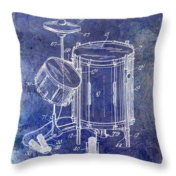 1951 Drum Kit Patent Blue Throw Pillow