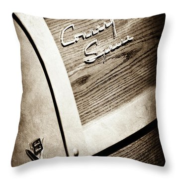 1951 Ford Country Squire Woody Wagon Side Emblem -3369s Throw Pillow