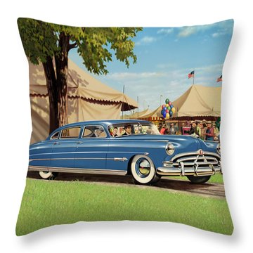 1951 Hudson Hornet - Square Format - Antique Car Auto - Nostalgic Rural Country Scene Painting Throw Pillow