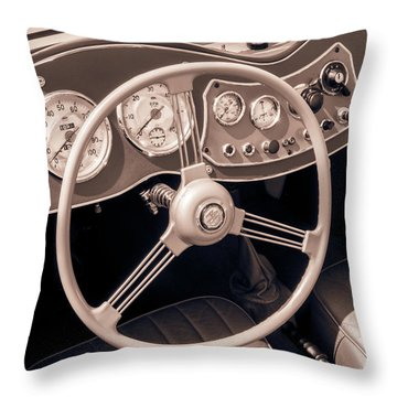 1951 Mg Td Midget Dashboard And Steering Wheel Throw Pillow by Jim Hughes
