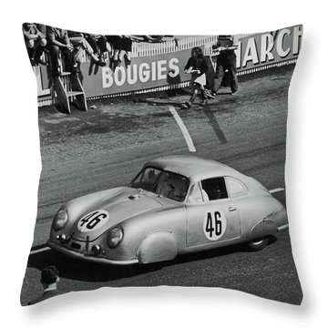 1951 Porsche At Le Mans - Doc Braham - All Rights Reserved Throw Pillow