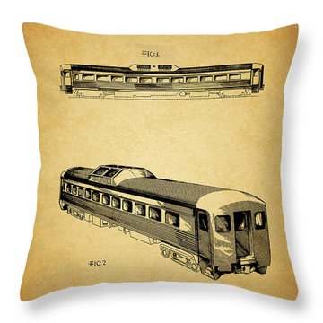 1951 Railway Car Patent Throw Pillow by Dan Sproul
