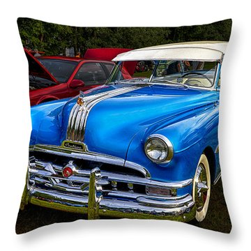 1952 Blue Pontiac Catalina Chiefton Classic Car Throw Pillow by Betty Denise