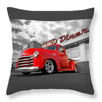 1952 Chevrolet Truck At The Diner Throw Pillow