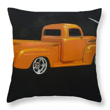 Throw Pillow featuring the painting 1952 Ford Pickup Custom by Richard Le Page
