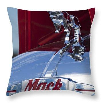 1952 L Model Mack Pumper Fire Truck Hood Ornament Throw Pillow by Jill Reger