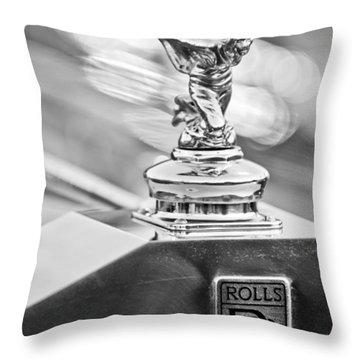 1952 Rolls-royce Silver Wraith Hood Ornament 2 Throw Pillow by Jill Reger