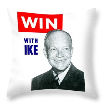 1952 Win With Ike Throw Pillow