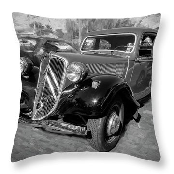 Throw Pillow featuring the photograph 1953 Citroen Traction Avant Bw by Rich Franco