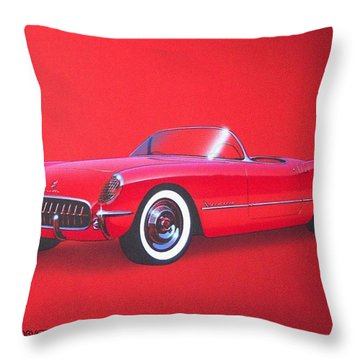 1953 Corvette Classic Vintage Sports Car Automotive Art Throw Pillow by John Samsen