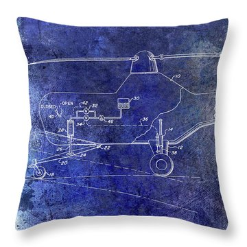 1953 Helicopter Patent Blue Throw Pillow