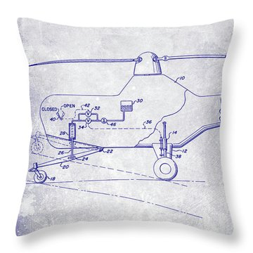 1953 Helicopter Patent Blueprint Throw Pillow