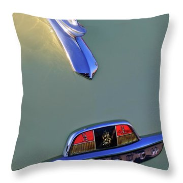 1953 Plymouth Hood Ornament Throw Pillow by Jill Reger