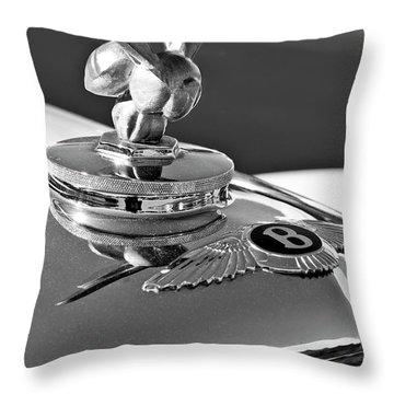 1954 Bentley One Of A Kind Hood Ornament 2 Throw Pillow by Jill Reger