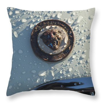 1954 Jaguar Xk120 Roadster Hood Emblem Throw Pillow by Jill Reger