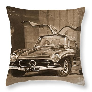 1954 Mercedes Benz 300 Sl  In Sepia Throw Pillow
