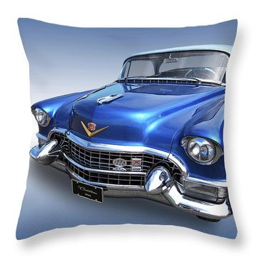 1955 Cadillac Blue Throw Pillow by Gill Billington