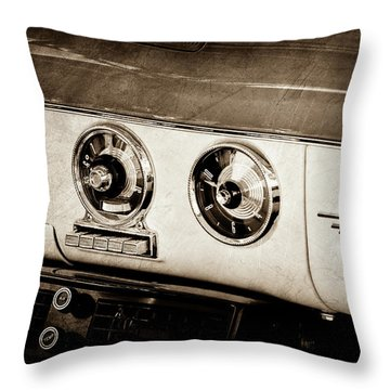 Throw Pillow featuring the photograph 1955 Ford Fairlane Dashboard Emblem -0444s by Jill Reger