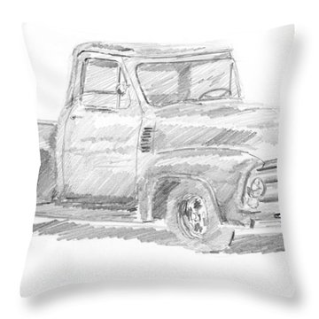 1955 Ford Pickup Sketch Throw Pillow