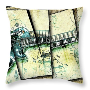1955 Les Paul Custom Black Beauty V2 Throw Pillow by Gary Bodnar