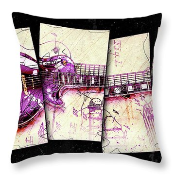 1955 Les Paul Custom Black Beauty V3 Throw Pillow by Gary Bodnar