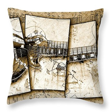 1955 Les Paul Custom Black Beauty V5 Throw Pillow by Gary Bodnar