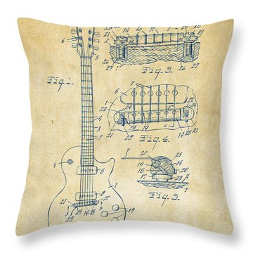 1955 Mccarty Gibson Les Paul Guitar Patent Artwork Vintage Throw Pillow by Nikki Marie Smith