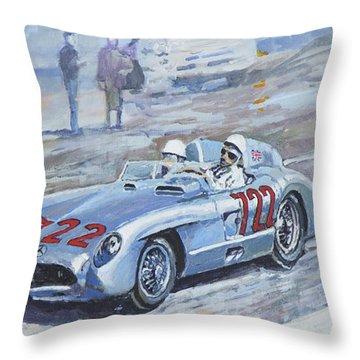 1955 Mercedes Benz 300 Slr Moss Jenkinson Winner Mille Miglia 01-02 Throw Pillow