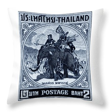 1955 Thailand War Elephant Stamp Throw Pillow
