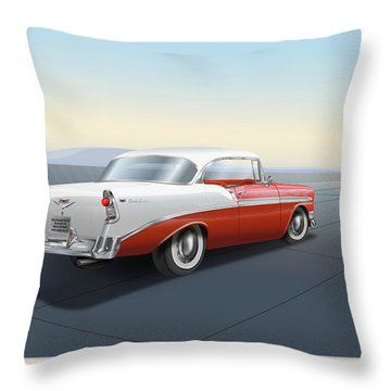 1956 Chevrolet Bel Air Throw Pillow by Marty Garland