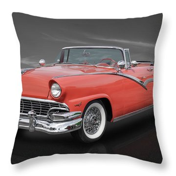 1956 Ford Fairlane Sunliner - Fiesta Red Paint Throw Pillow