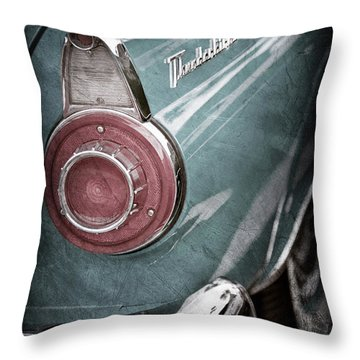 Throw Pillow featuring the photograph 1956 Ford Thunderbird Taillight Emblem -0382ac by Jill Reger