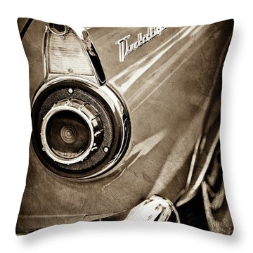 Throw Pillow featuring the photograph 1956 Ford Thunderbird Taillight Emblem -0382s by Jill Reger