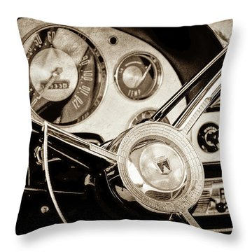 Throw Pillow featuring the photograph 1956 Ford Victoria Steering Wheel -0461s by Jill Reger