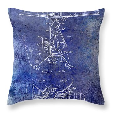 1956 Helicopter Patent Blue Throw Pillow