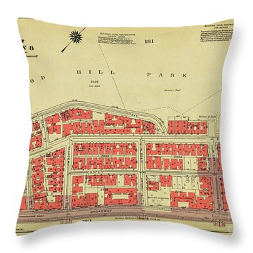 Throw Pillow featuring the photograph 1956 Inwood Map  by Cole Thompson