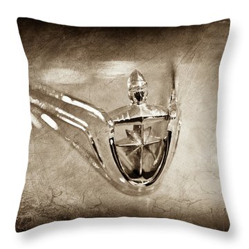 Throw Pillow featuring the photograph 1956 Lincoln Premier Convertible Hood Ornament -0832s by Jill Reger